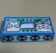 Totoro tissue box cover perler beads by chikuchikukoubo_amieru