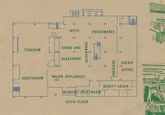 A circa pamphlet featuring the new layout of Robertson's Department Store in South Bend, Indiana South Bend Indiana, Department Store, Back Home, Floor Plans, Layout, Flooring, Childhood, Infancy, Page Layout