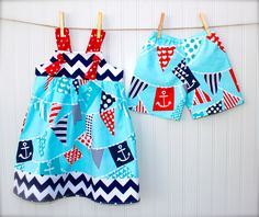 BROTHER SISTER SET- knot dress with matching shorts in nautical & chevron fabrics - sizes 5 Cute Sister, Brother Sister, Sewing For Kids, Baby Sewing, Easy Sewing Projects, Sewing Crafts, Clothing Patterns, Kids Clothing, Sewing Patterns