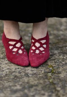 Unusual red suede shoes with little heel