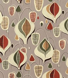 Modernist Textiles | 1950's & Henry Moore - AnotherDesignBlog. The deep interest in micro-biology of the 50s is evident in this pattern.