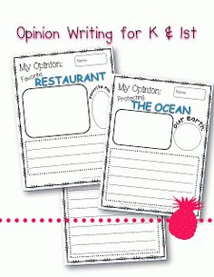 Opinion Writing for K & 1st~Free @ The PINK Pineapple