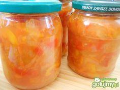 Leczo do słoików Cantaloupe, Salsa, Mason Jars, Fruit, Food, Essen, Mason Jar, Salsa Music, Meals