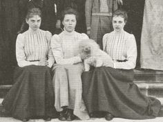 Grand Duchess Olga Alexandrovna (middle) with cousins, Princess Alexandra (left) and Olga of Hanover & a cute pet. Early 1900s.