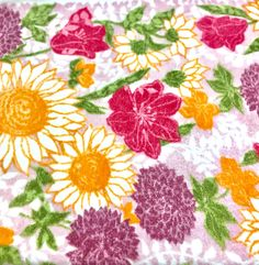 70f06a432d Vintage Floral Bath Towel Bold Flower Power Terry Cloth Fringed Towel