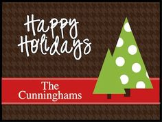 Personalized Door Mat - Holiday Trees - Christmas