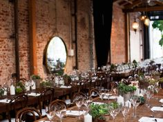 rustic family-style tables