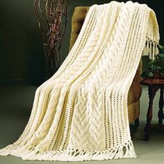 Mary Maxim - Free Lace and Cables Afghan Knit Pattern - Free Patterns - Patterns & Books