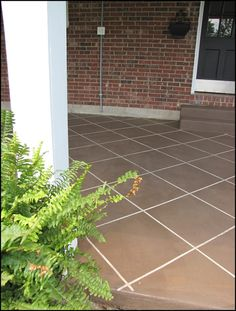 Or, make faux tiles with concrete stain. 39 Budget Curb Appeal Ideas That Will Totally Change Your Home Diy Concrete Stain, Concrete Porch, Cement Patio, Stained Concrete, Concrete Cover, Concrete Refinishing, Patio Paint, Concrete Backyard, Pool Paint