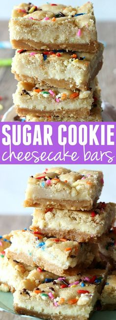 These Sugar Cookie Cheesecake Bars are the ultimate dessert! A layer of sugar cookies followed by a cheesecake filling all on top of a irresistible Golden Oreo crust. You will LOVE these!
