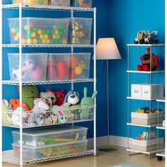 Perfect shelving for sewing room/craft storage! I love that this shelving unit has a bin for one of the shelves that I can use for fabric/tools/rulers, etc. - The Container Store > InterMetro® Kids' Shelving Small Storage, Toy Storage, Storage Ideas, Closet Storage, Closet Shelving, Shelving Ideas, Ikea Closet, Room Closet, Kids Room Organization