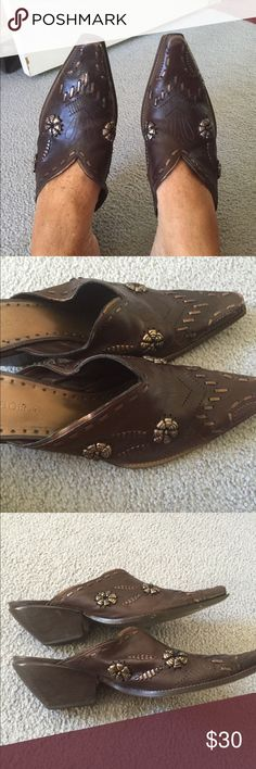 Ladies BCBG brown & bronze leather cowboy slides Ladies BCBG brown and bronze Brazilian leather slides. Size 10M. Very comfy. Looks gr8 with jeans. Gently worn. BCBGeneration Shoes Mules & Clogs