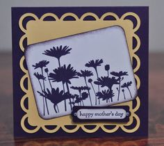 "This card is made from quality Stampin Up products. I've used Elegant Eggplant and So Saffron as the main colours. A scallop square in So Saffron cardstock was punched out using Nestabilities. I've stamped daisies in Elegant Eggplant ink on Whisper White cardstock and sponged the edges to give it a distressed look.  Finally, I've added the sentiment ""happy mothers day"" and embellished it with rhinestones.  Thanks for looking!  I am entering this card in the CPS Card Sketch Challenge #54 (Day…"