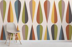 Achieve a bespoke mid century modern feel to your space with this colourful retro pattern wallpaper, a funky wall design. Buy now with fast & FREE UK delivery! Bathroom Wallpaper Modern, Mid Century Modern Wallpaper, Geometric Wallpaper Murals, Chic Wallpaper, Midcentury Wallpaper, Funky Wallpaper, Mid Century Modern Colors, Wall Wallpaper, Mid-century Modern