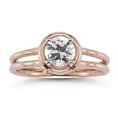 White Sapphire Solitaire Ring in 14K Rose Gold.