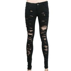 Destroyer Ripped Trousers by Punk Rave ❤ liked on Polyvore featuring jeans, pants, bottoms, black, skinny jeans, destructed skinny jeans, torn jeans, ripped jeans, destroyed jeans and distressed skinny jeans