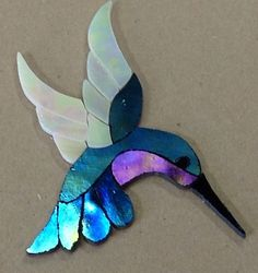 Precut Stained Glass Art Kit Male Hummingbird Mosaic Inlay Garden Stone 4 5x4"