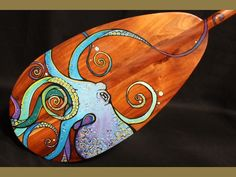 """Large Premium Canoe Paddle 72"""" - Painted Octopus By C. Wilcox"""