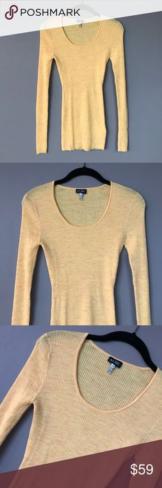 🆕 NWOT Armani Jeans 100% Wool Rib Knit Sweater 🆕 NWOT Armani Jeans 100% Wool Rib Knit Sweater.  Size medium.  Rather pretty butter-canary color knit.  Great price for such a timeless piece!  Perfect condition; flawless. Armani Jeans Sweaters