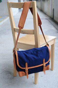 Hand Stitched Brown Leather And Canvas Shoulder Bag/ Messenger  Bag/ Carry On Bag (SUMMER SALE)