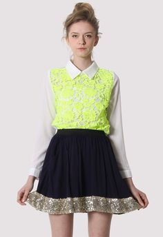#Chicwish Neon Yellow Floral Lace Shirt