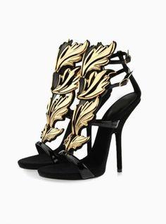 2013 Most Popular Sandals Gold Leaf Heeled Sandals