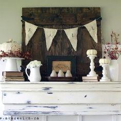 fall mantels, decorating ideas, aka design, fall decorating, white pumpkins, pottery barn, mantl, decor idea, mantel decorations