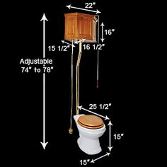 High pull chain toilet