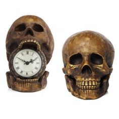 Mic, is this too much? Because my inner goth girl NEEDS IT ZOMG.  Skull Table Clock from Z Gallerie