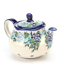 Lidias Polish Pottery Blue Flower Fruti Teapot   zulily