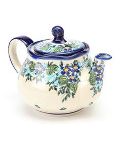 Lidias Polish Pottery Blue Flower Fruti Teapot | zulily