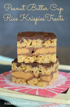 Rice krispie treats with peanut butter cup center