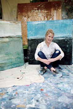 colorblock paintings --- Photo Credit: Andre Shirley. Charlottesville, Virginia, artist Kiki Slaughter in her studio.