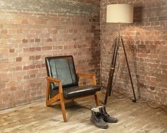 Our antique brown retro leather chair is handcrafted from rustic solid teak, combined with real leather upholstery. Brown Leather Armchair, Retro Armchair, Occasional Chairs, Teak, Upholstery, New Homes, Rustic, Modern, Room