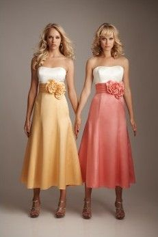 Two-tone Floral and Pleated Satin Strapless Tea-length Bridesmaid Dress #wedding #dress