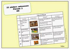 Ateliers autonomes type Montessori - Période 3 en MS