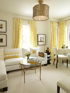LOVE THE YELLOW CURTAINS! Sarah Richardson design - very pretty yellow curtains. A great neutral design that can be easily changed. Home Living Room, Living Spaces, Apartment Living, Apartment Therapy, Sarah Richardson, Sara Richardson Design, Yellow Curtains, Bright Curtains, Geometric Curtains