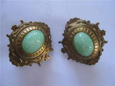 1940s Bronze Jade Earrings by dresslikeamoviestar on Etsy, $105.00