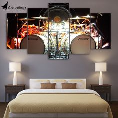 5 Piece Canvas Art Music drums kit HD Printed Wall Art Home Decor Canvas Painting Picture Poster Prints Free Shipping CU-1399A #Affiliate
