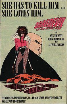 Daredevil ad (John Romita Jr), great comics, 1980s, best of, comic books, Ann Nocenti, Typhoid Mary,