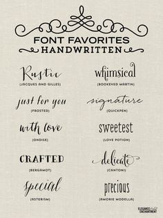 Handwritten Font Favorites for blogging, graphic design, crafting and more! Collection from Elegance & Enchantment.