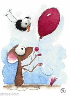 ACEO Original Watercolor Folk Art Mouse Crow Love Red Balloon Happy Valentine | eBay
