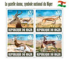 Dama gazelle – the national Niger symbol, (Nanger dama). World Wild Life, Spirit Animal, Postage Stamps, Kangaroo, Dame, Wildlife, Symbols, Animals, Collection