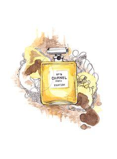 """""""Chanel no. 5"""" (Chanel perfume)  Copyright: Emmeselle.no   illustration by Mona Stenseth Larsen"""