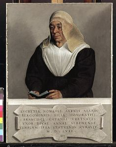 Abbess Lucrezia Agliardi Vertova (1490?–1558)  Giovanni Battista Moroni 1557 -  As the Latin inscription tells us, Abbess Lucrezia Agliardi Vertova founded the Carmelite convent of Saint Anne at Albino, outside Bergamo. This remarkably unidealized portrait of the widowed abbess hung there for centuries.