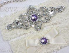 CHLOE II - Purple Pearls Wedding Garter Set, Wedding Ivory Stretch Lace Garter, Rhinestone Crystal Bridal Garters