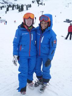Kelly Gallagher and her guide Charlotte Evans at the end of a good day of ski racing at the Europa Cup.