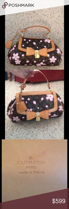 """LOUIS VUITTON CHERRY BLOSSOM SAC RETRO PM PURSE Brand Name : LOUIS VUITTON Product Name : Sac Retro PM Model Number : SD0081 Line : Monogram Cherry Blossom Date Code/Stamp : CA0043 Measurements :  Height : 6.7"""" (17cm) Width : 11.8"""" (30cm) Depth : 3.3"""" (8.5cm) Handle Drop : 4.5"""" (11.5cm) Color : Maroon  Compartment : None Outside Pocket : None Inside Pocket : 1 open Material : Monogram Cherry Blossom Canvas Accessories : Padlock (No key), Clochette  Used only twice, Like New condition.  Check…"""