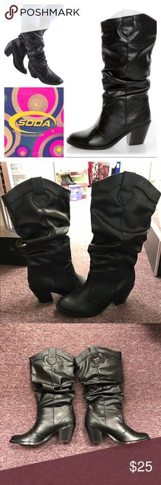 """NEW Soda Black Lode Cowboy Heel Boots Black Sz 7.5 Brand new in box! Cute, fashionably slouched cowboy style boots - style name """"Lode"""" - by Soda shoes. Color is black, size is 7.5 - 2 available but are also for sale at a boutique (discounted here!) so purchase fast! Comfortable 2.5"""" block heel - super easy to walk in! Pull on style, come up to approx mid calf. Great for any season! Reduce price by bundling with other boutique items from my closet! Soda Shoes Heeled Boots"""