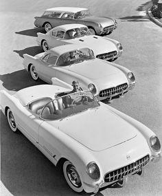 1954 Corvette dream cars ~ Corvette Corvair fastback, Corvette Nomad wagon and Corvette convertible coupe